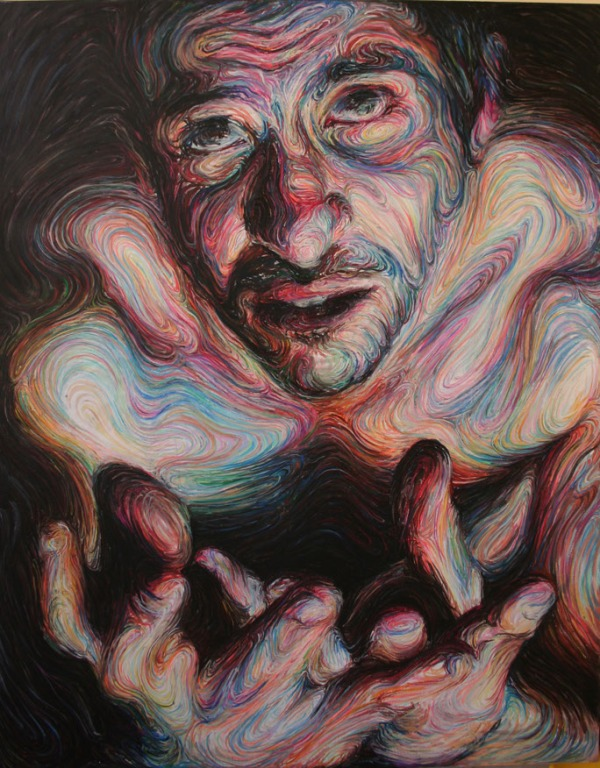 self portrait,oil pastel on canvas h190xw150cm