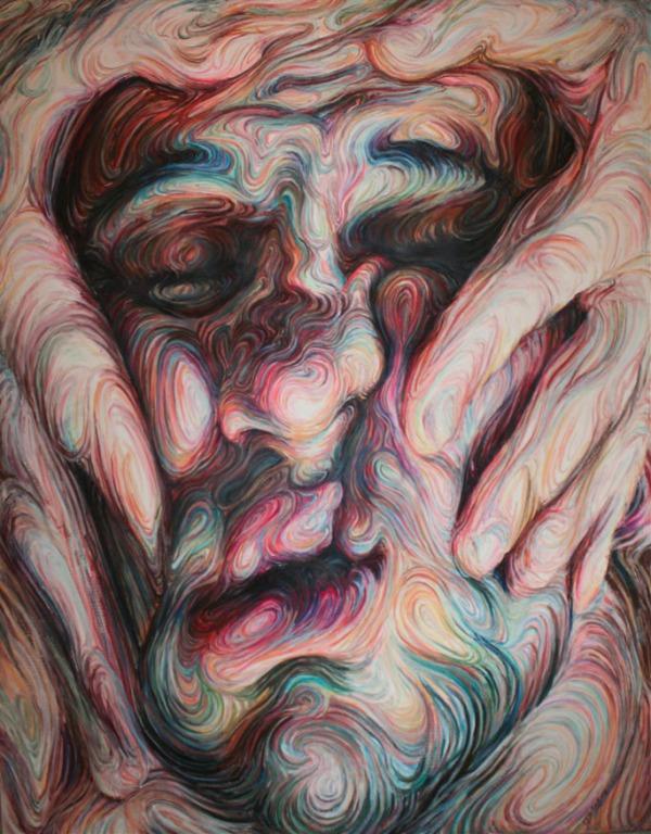 self portrait,oil pastel on canvas,h190xw150cm