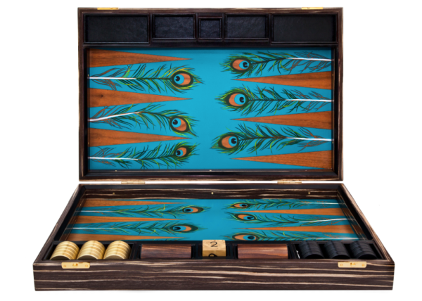 Peacock Backgammon Set by Alexandra Llewellyn - Bespoke global